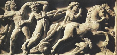 Oedipe 3 - Il tue son père Laetes après avoir refusé de laisser passer son char - III° VI° siècle - Bas relief d'un sarcophage.jpeg.jpeg